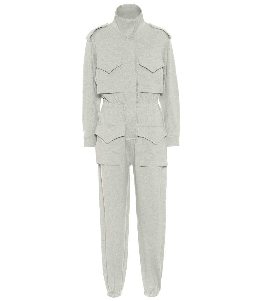 Norma Kamali Patch-pocket Cotton-blend Jersey Jumpsuit In Grey