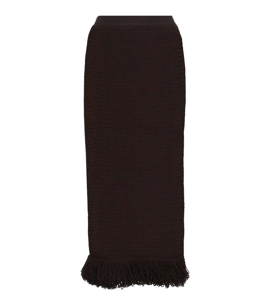 Bottega Veneta Women's Fringed Cotton-blend Knit Midi Skirt In Brown