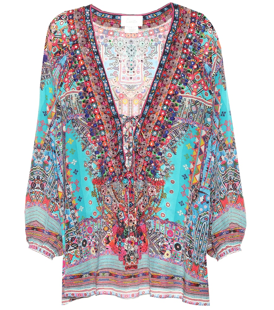 PRINTED EMBELLISHED SILK BLOUSE