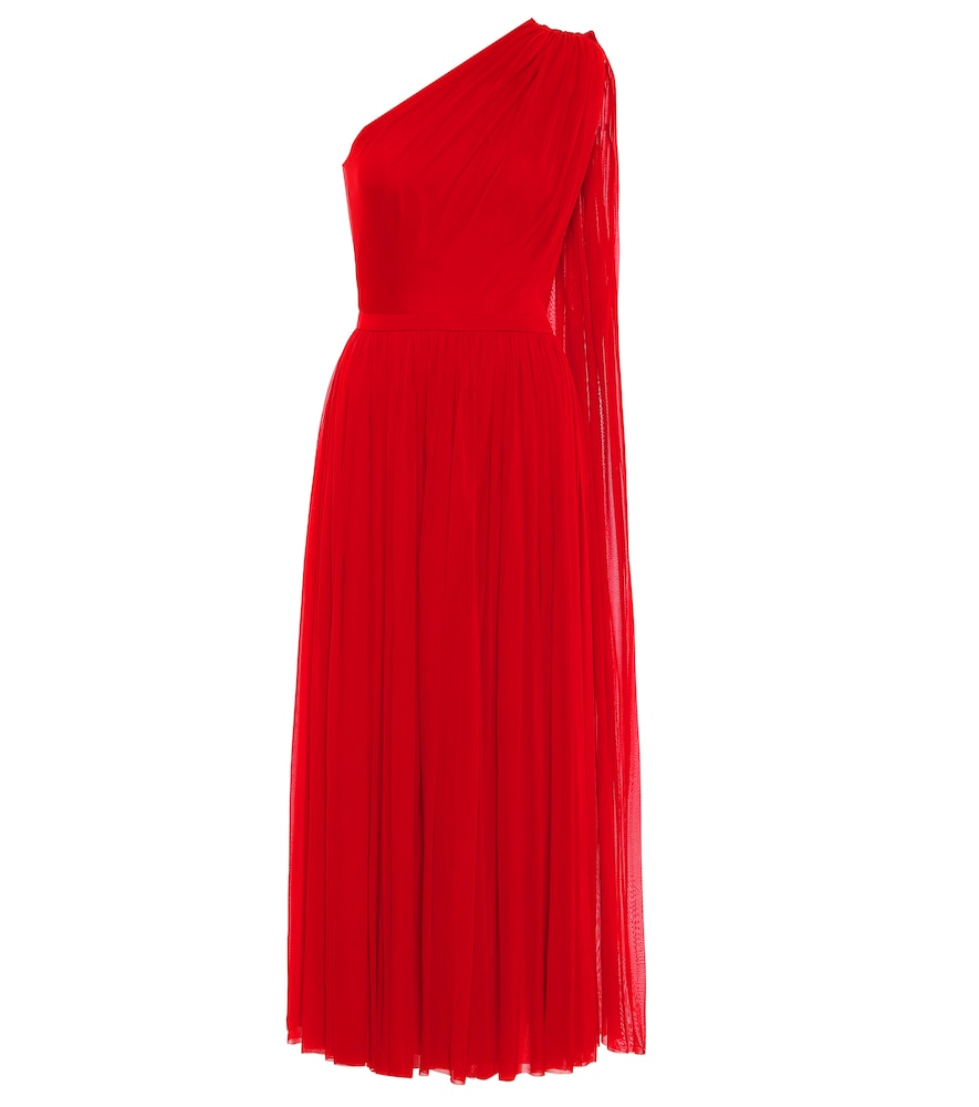 One-shoulder tulle midi dress