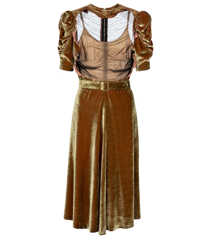 Point d'esprit and velvet minidress by Maison Margiela