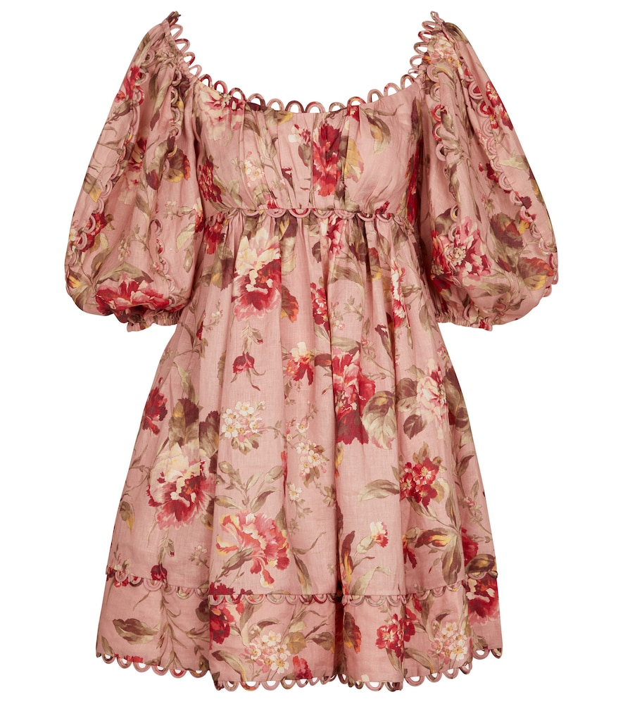 Zimmermann Cassia Puff-sleeve Floral-print Voile Mini Dress In Pink