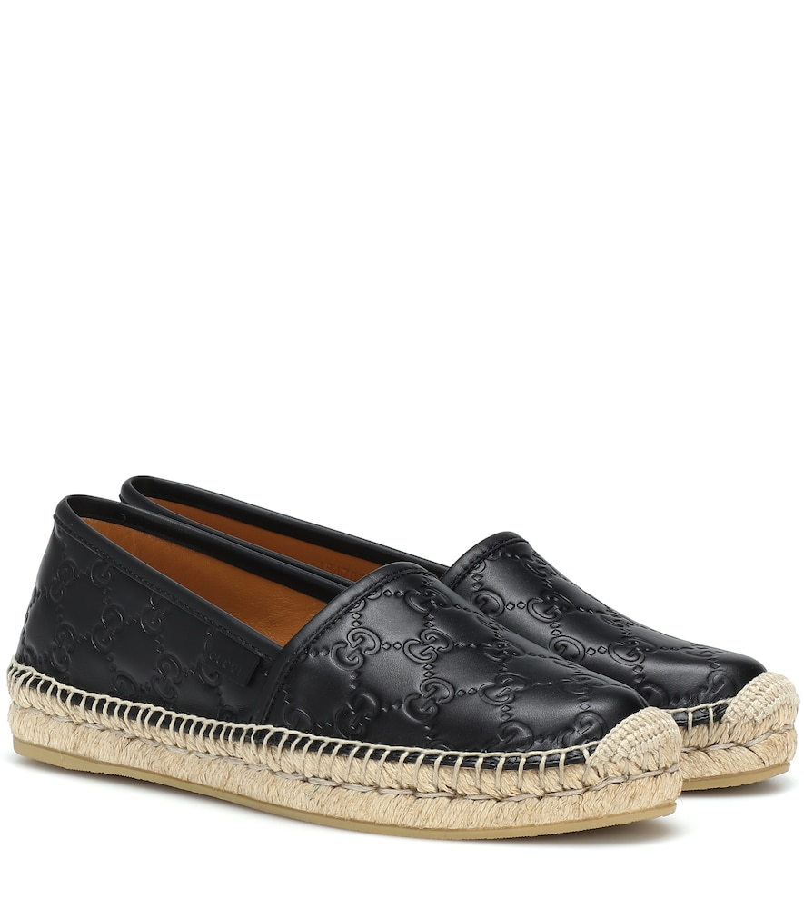2a19fcc19 Gucci Women's Pilar Leather Espadrille Flats In Black | ModeSens