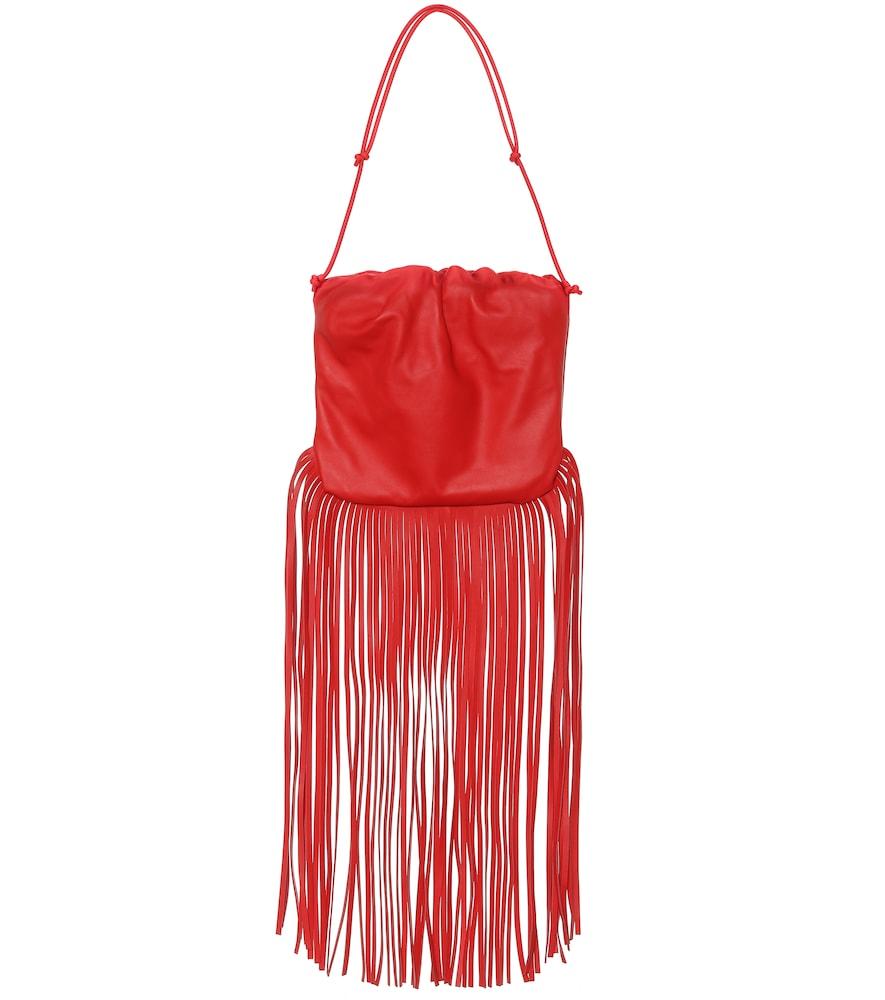 Bottega Veneta The Fringe Pouch Bag In Linoleum Color In Red