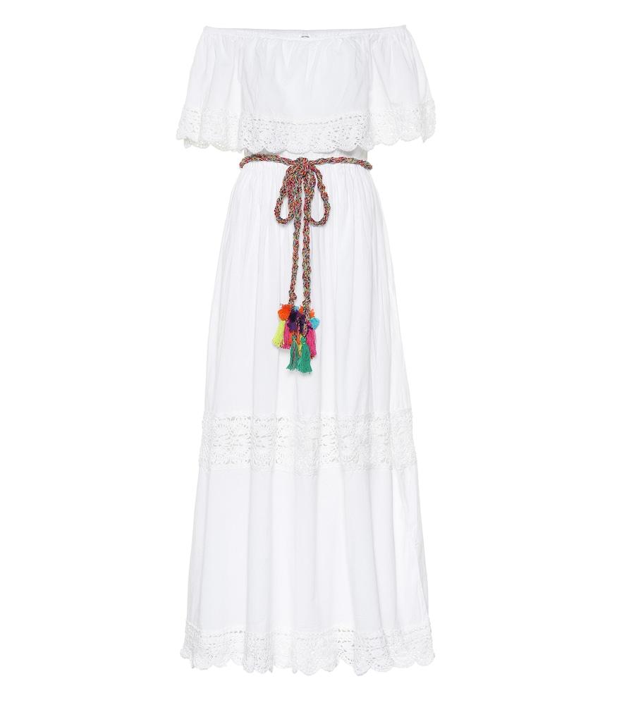 Robe longue Janessa à encolure bardot en coton
