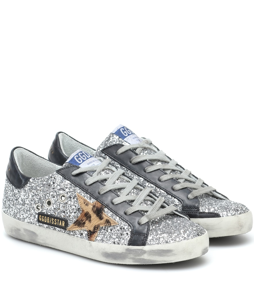 Superstar leather-trimmed sneakers