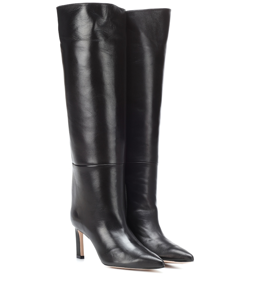 Emiline Hig Heel Black Leather Boots from FORZIERI