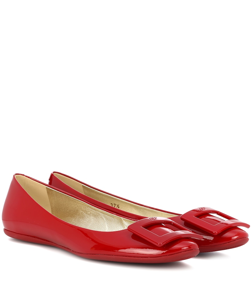 Roger Vivier 10Mm Gommette Patent Leather Flats, Dark Red
