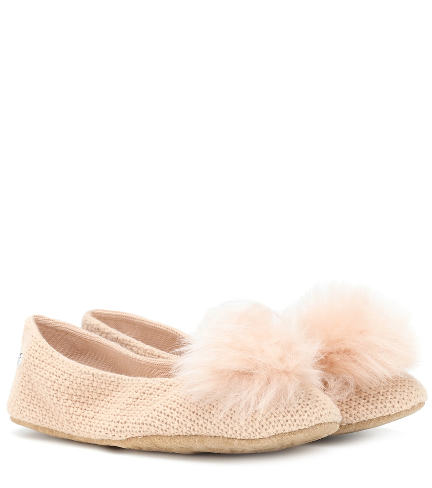 Andi Cotton Knit Slippers in Pink