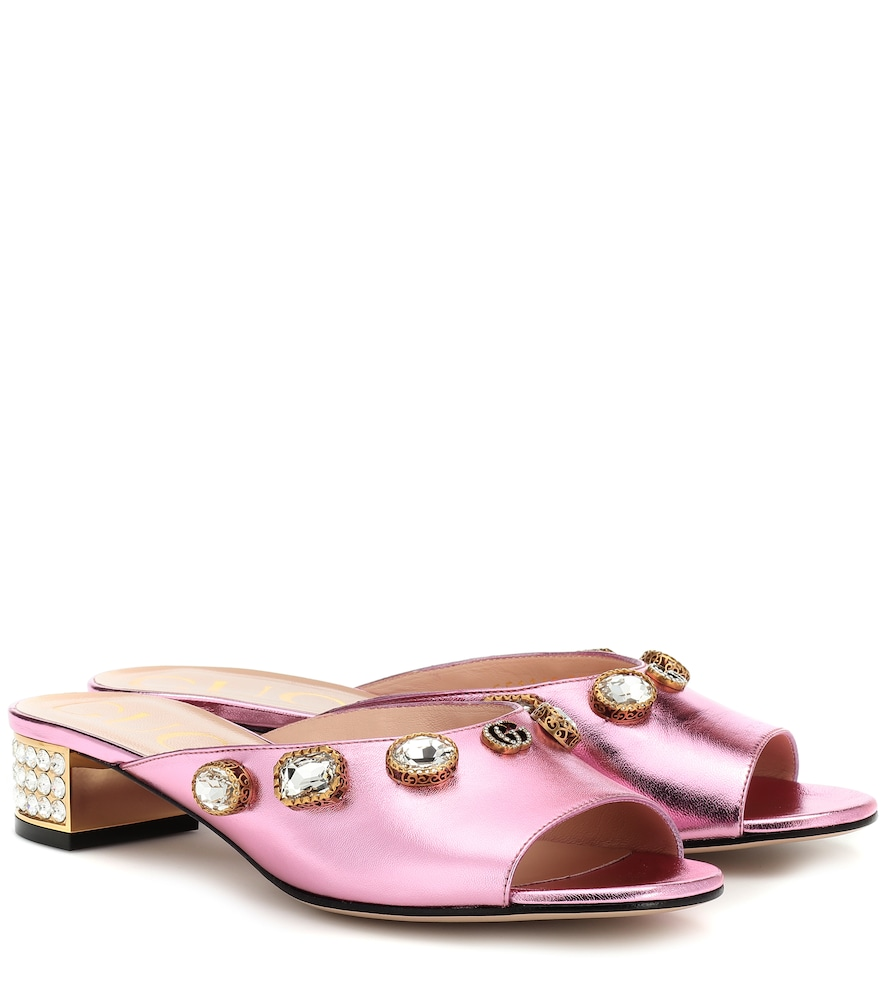 GUCCI | Embellished leather sandals | Goxip