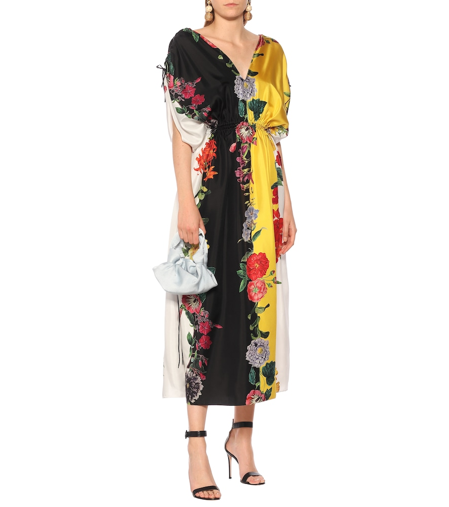 Floral striped silk-twill maxi dress by Oscar de la Renta