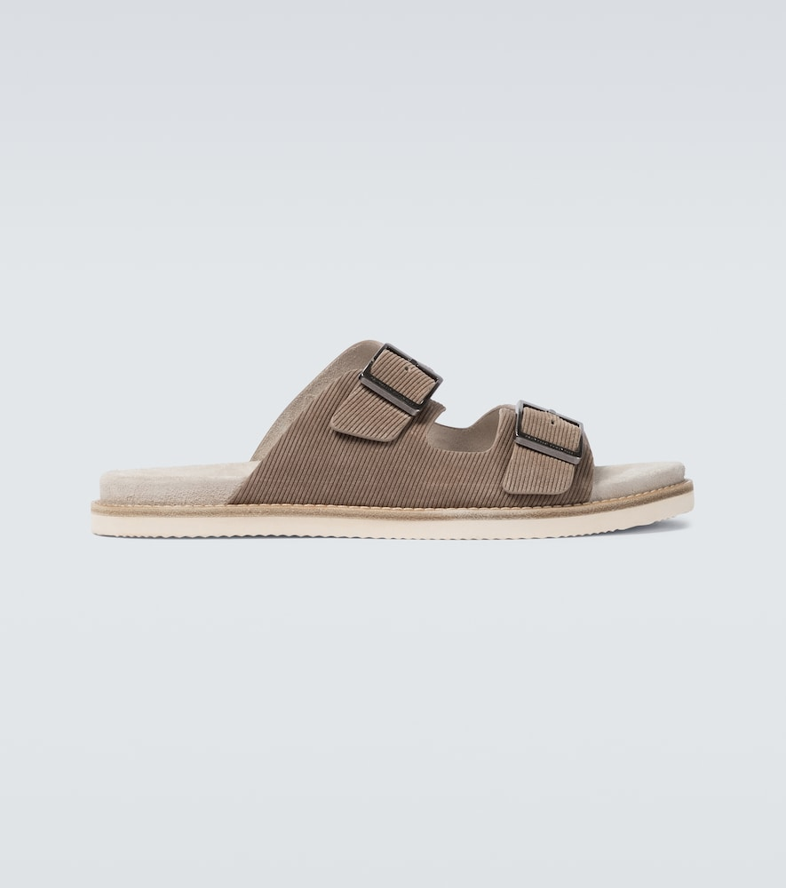 Brunello Cucinelli Suedes SUEDE CORDUROY BUCKLED SANDALS