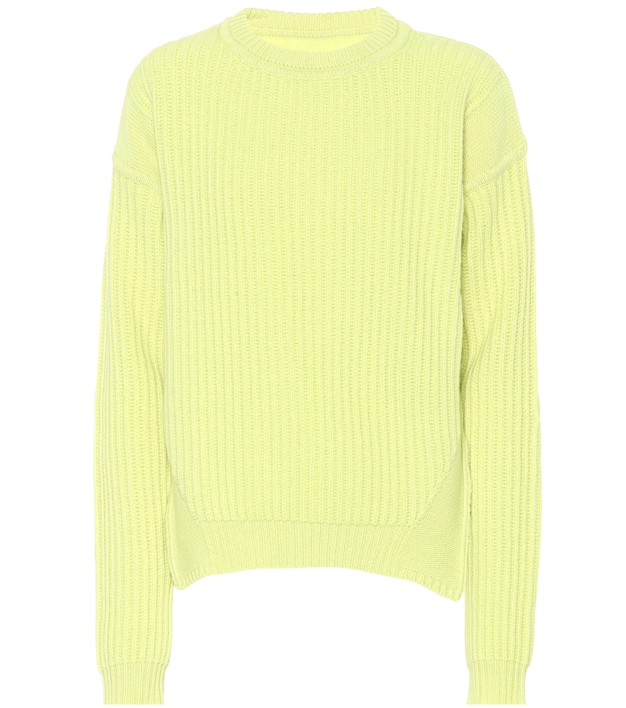 Ribbed-Knit Wool Sweater, Yellow