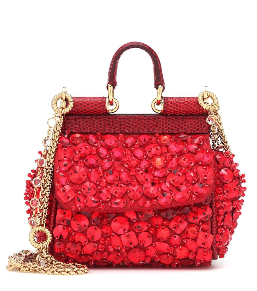 Micro Sicily Embellished Shoulder Bag in Red