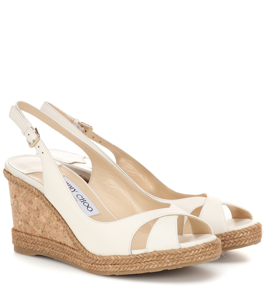 adab69b15b9d Jimmy Choo Amely 80 Chalk Nappa Leather Sandals With Braid Trim Wedge In  White