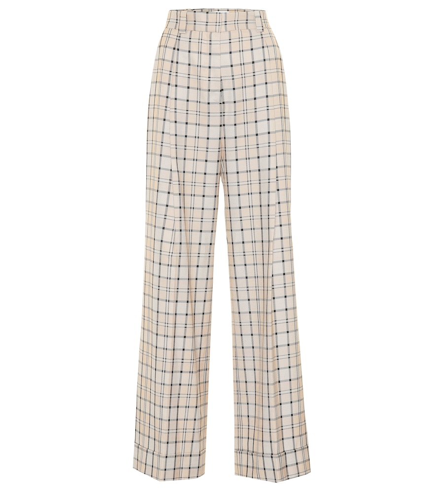 SEE BY CHLOE | Checked high-rise straight pants | Goxip