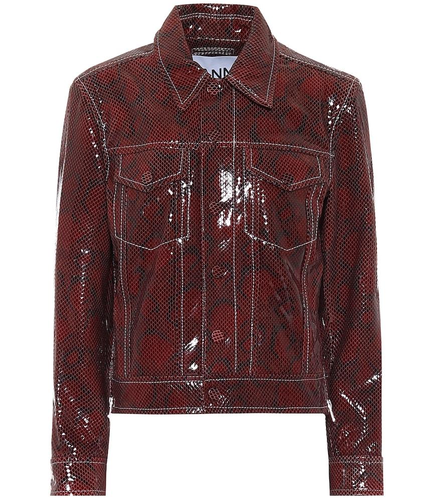 Snake-effect leather biker jacket by Ganni