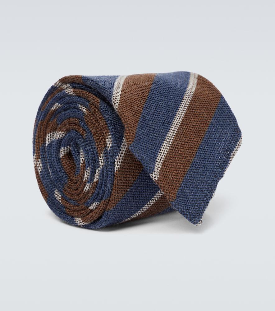 Cravate rayée en laine et soie
