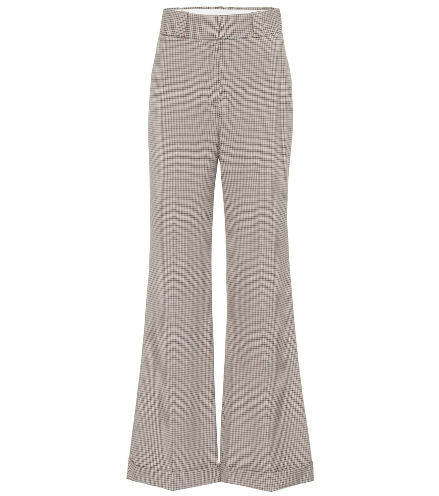 Checked Tweed Wide-Leg Pants in Gray