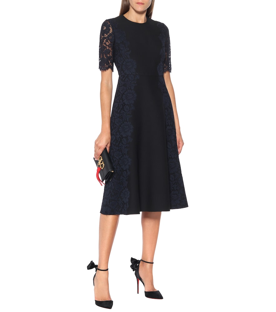 Lace-trimmed wool and silk midi dress by Valentino