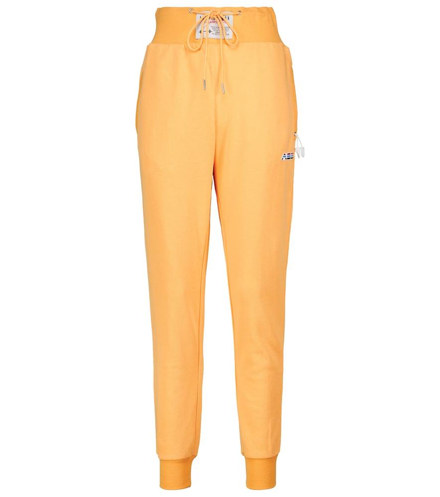 High-rise cotton-blend sweatpants
