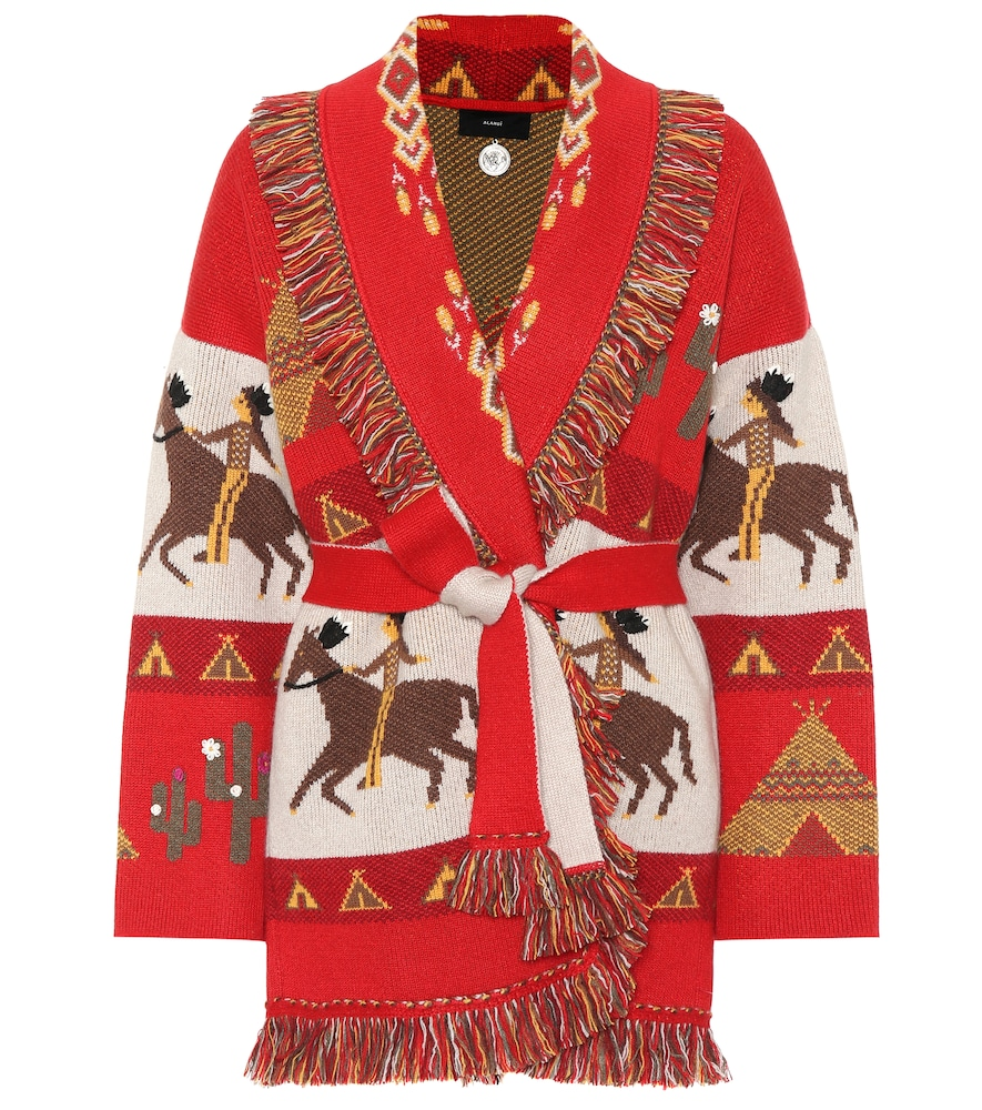 ALANUI Embroidered Belted Cardigan in Red