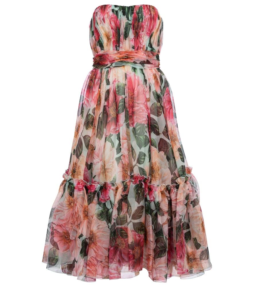 Dolce & Gabbana Dresses STRAPLESS FLORAL SILK CHIFFON MIDI DRESS