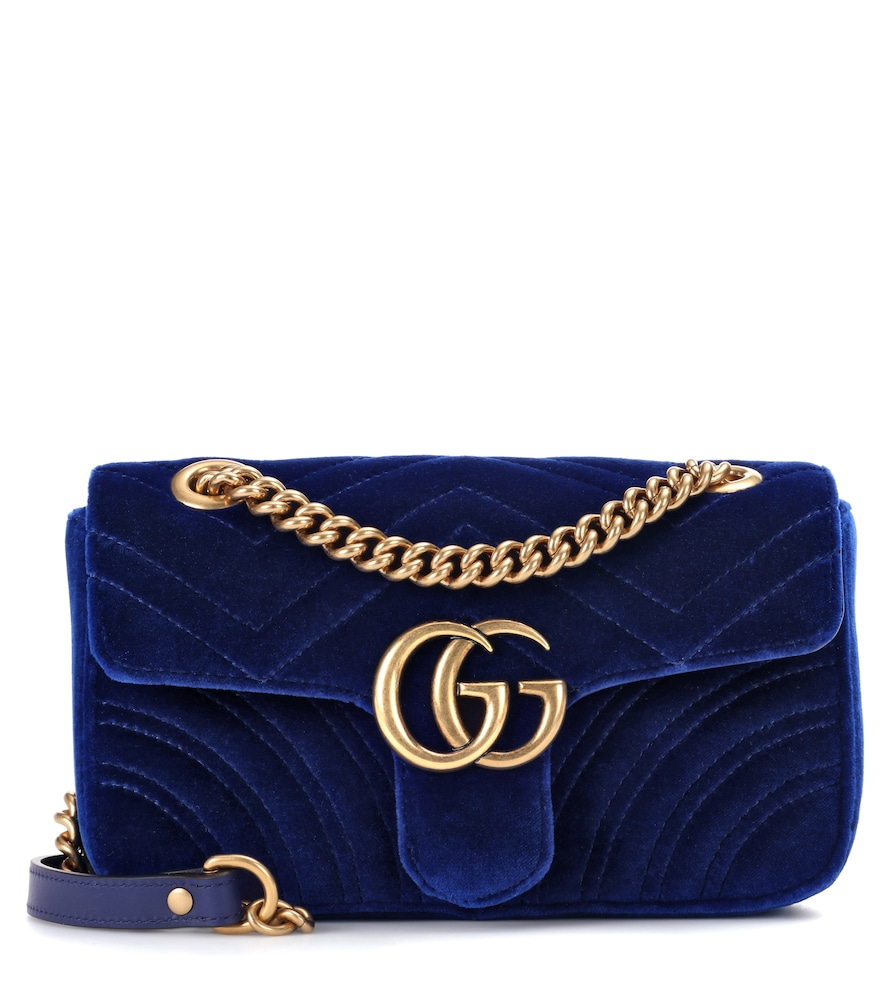 4e6aa3446d4 Gucci Gg Marmont Mini Quilted Velvet Cross Body Bag In Blue Modesens