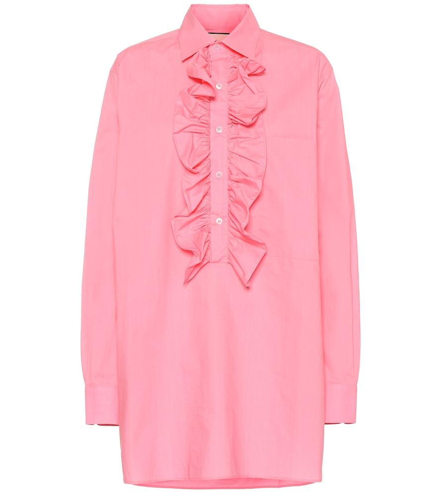 Oversized ruffled cotton blouse