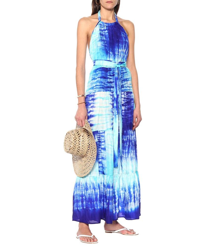 Tie-dye silk maxi dress by Juliet Dunn