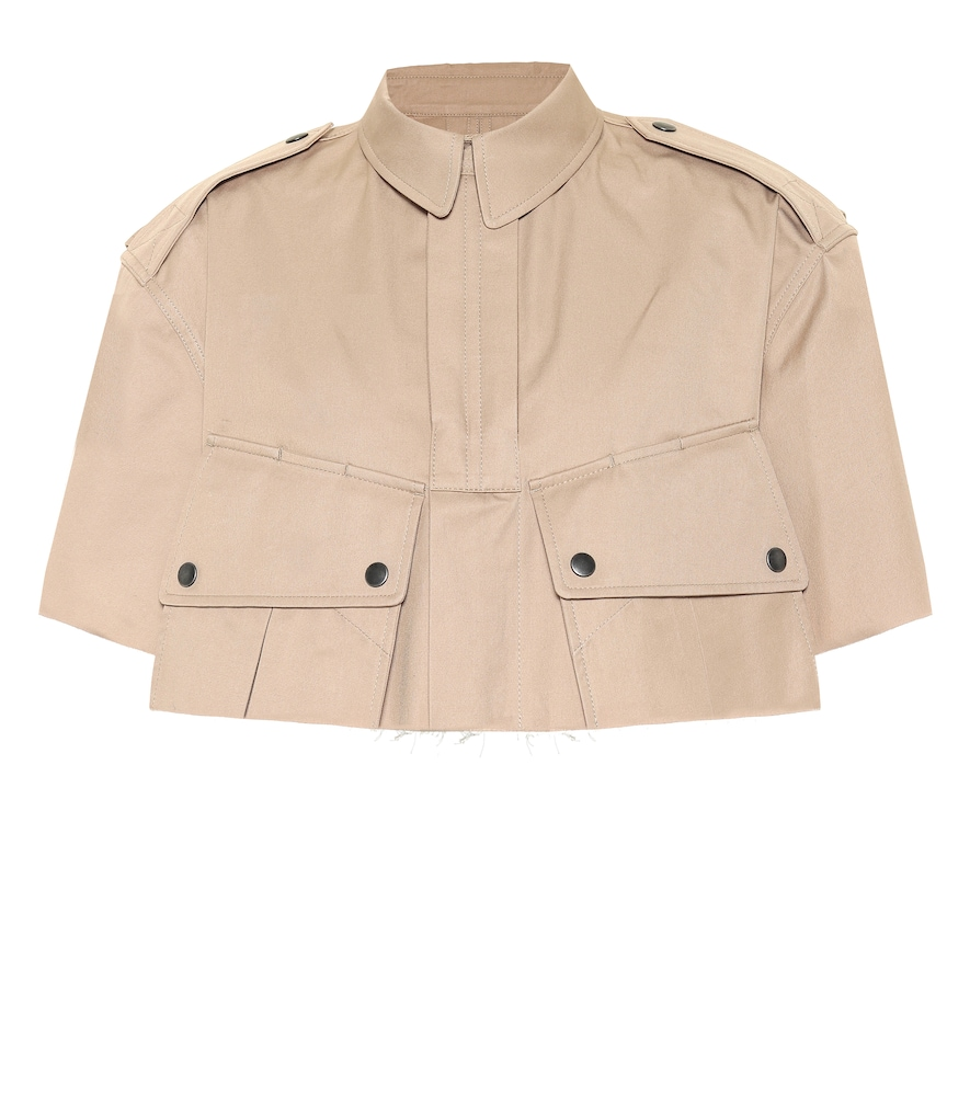 Cropped cotton-twill cape jacket by Maison Margiela