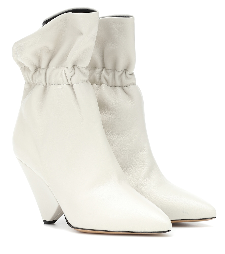 Lileas Ruched Leather Ankle Boots in Ivory
