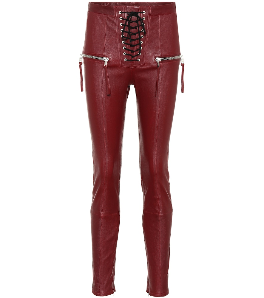 LACE-UP LEATHER PANTS
