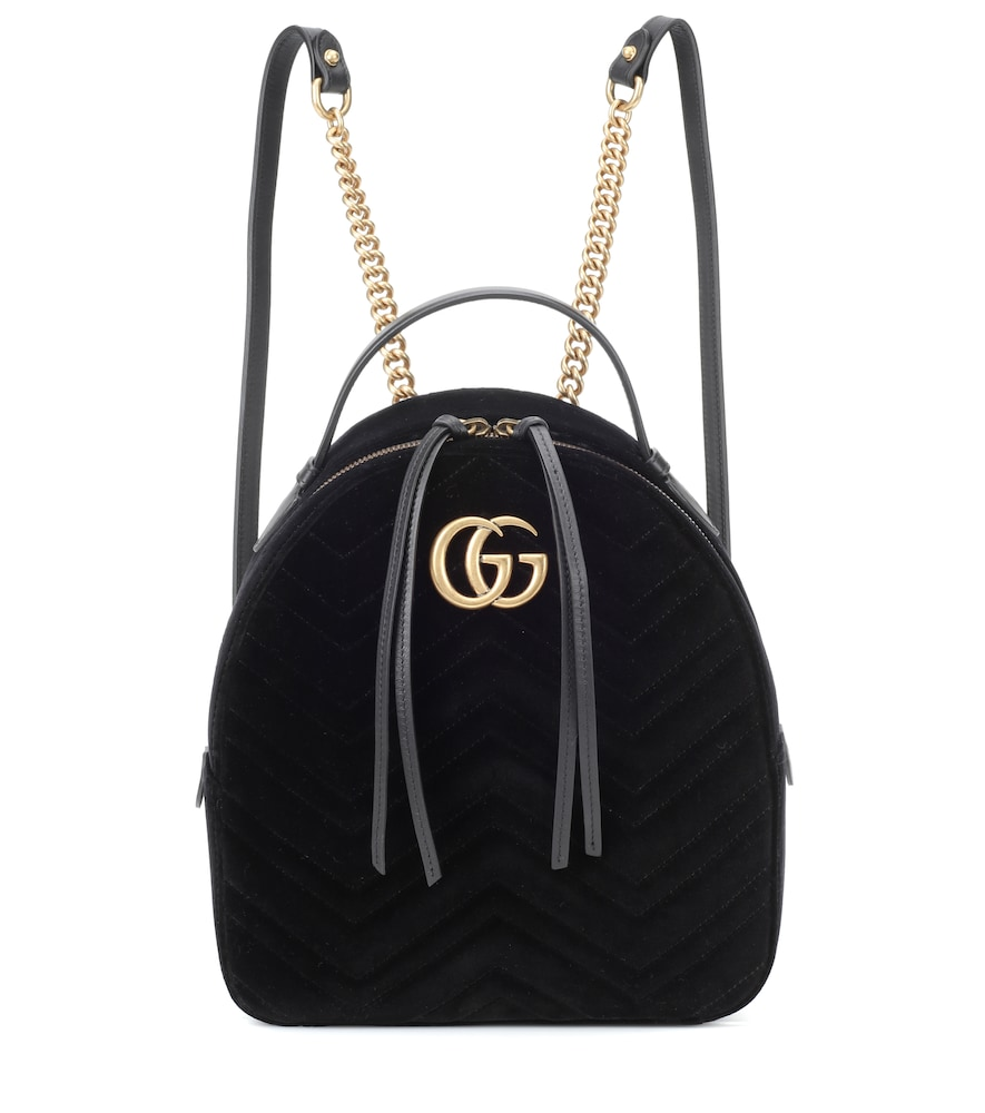 66055aa5f1a2 Gucci Gg Marmont 2.0 MatelassÉ Quilted Velvet Backpack In Black ...