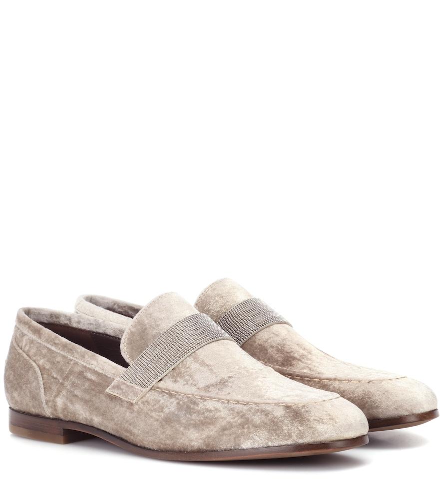 BRUNELLO CUCINELLI Flat Metallic Velvet Loafer in Beige