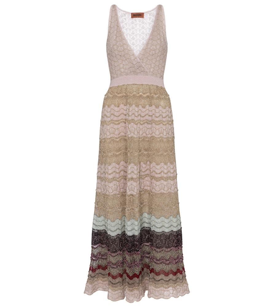 Striped stretch-silk midi dress by Missoni