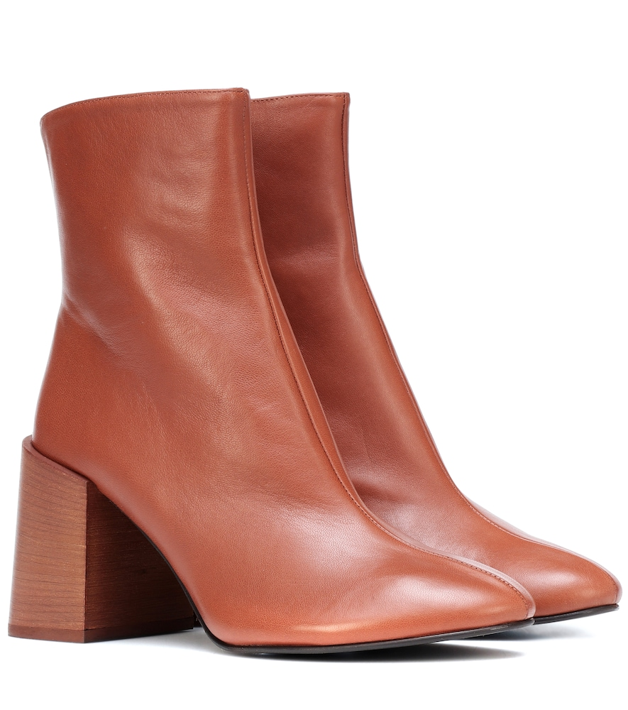 Saul Logo Ankle Boots In Brown Lambskin