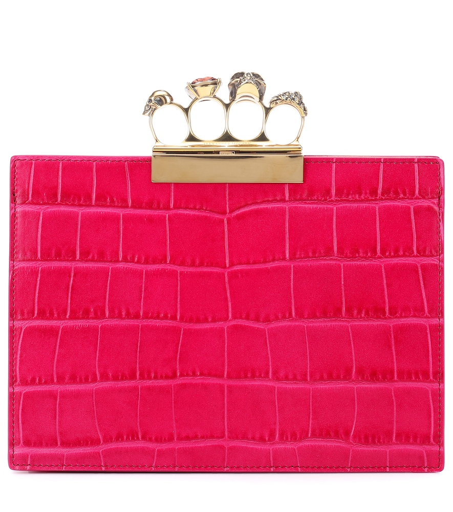 Four Ring Small Leather Clutch in Pink