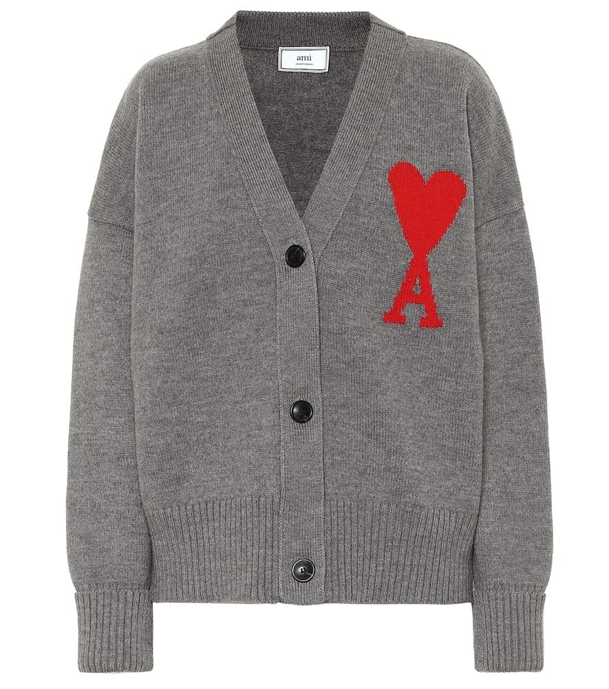 Cardigan de Cœur en laine mérinos à logo - AMI - Modalova