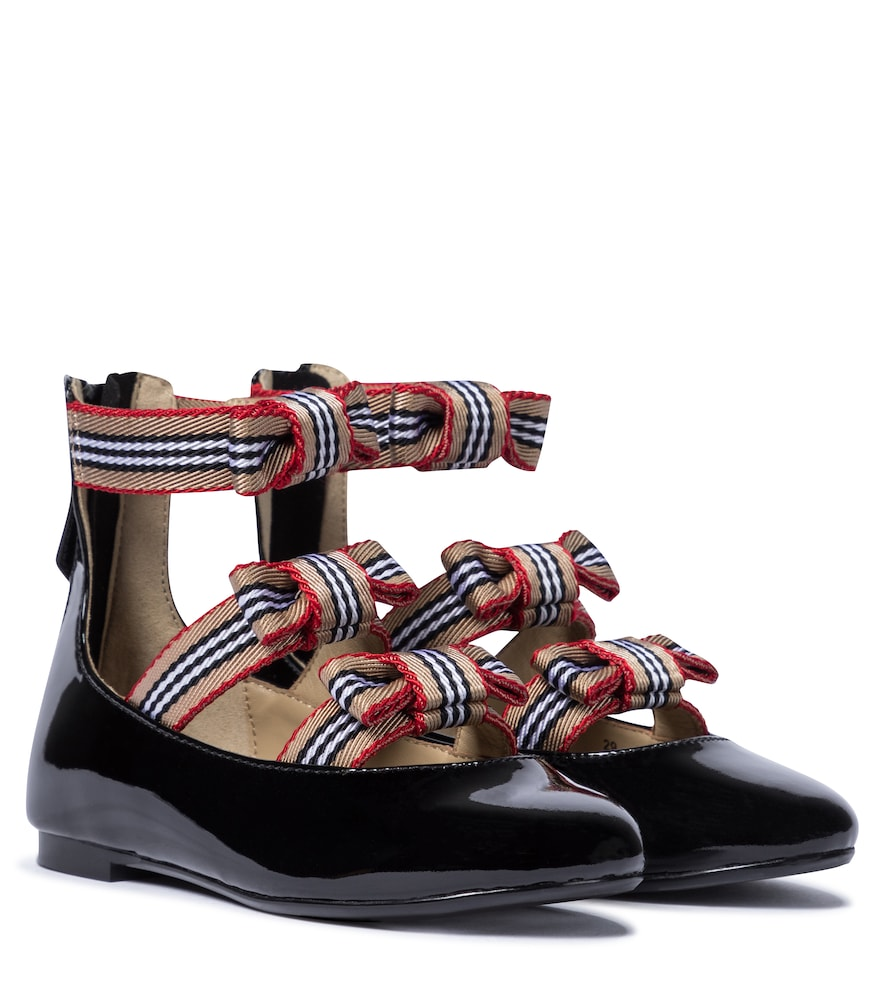 Burberry ICON STRIPE PATENT LEATHER BALLET FLATS