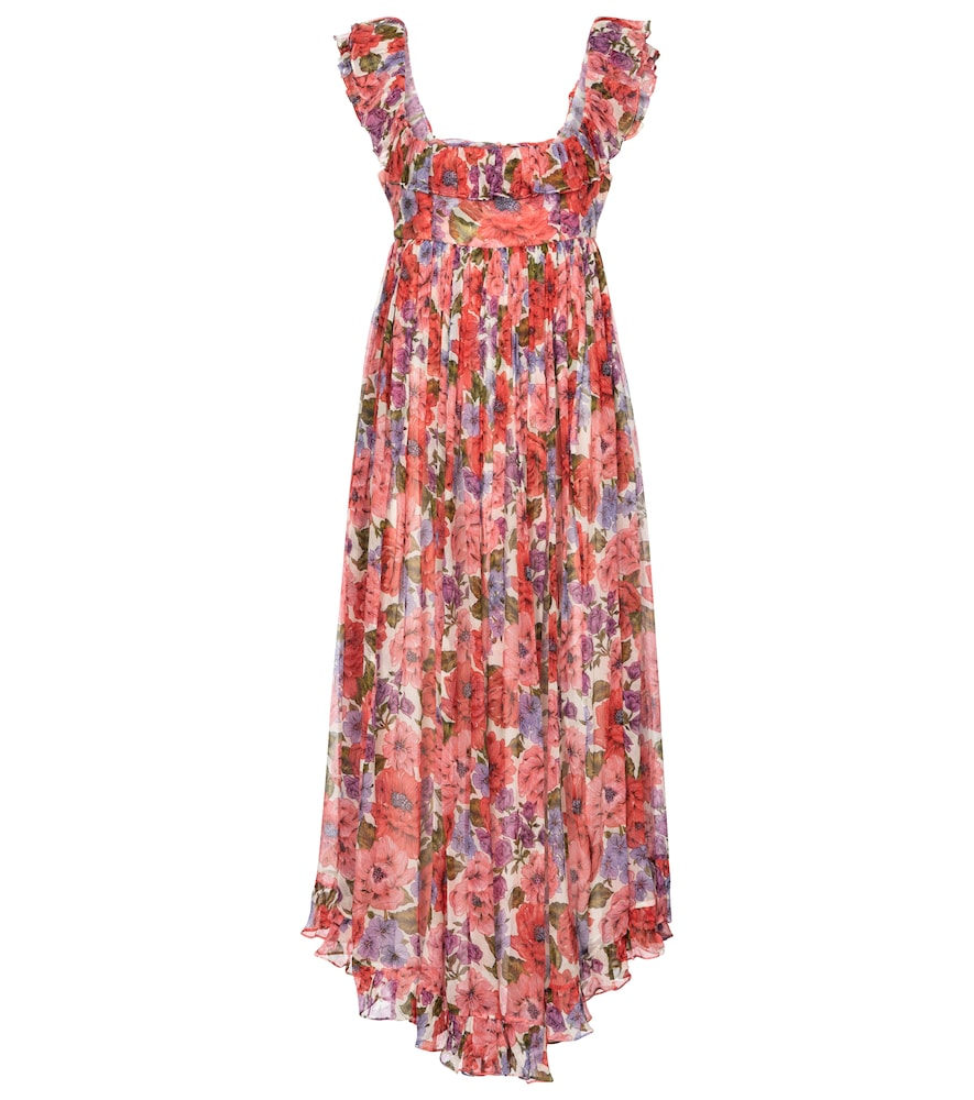 Zimmermann POPPY FLORAL SILK MIDI DRESS