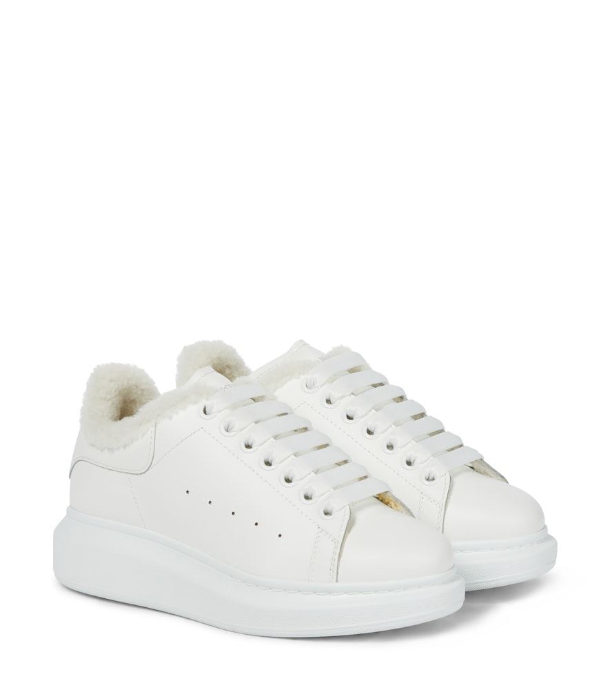 Oversized shearling-trimmed leather sneakers