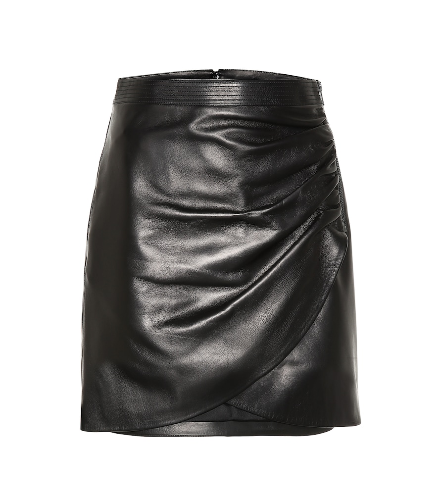 Black Leather Wrap Front Mini Skirt, Female