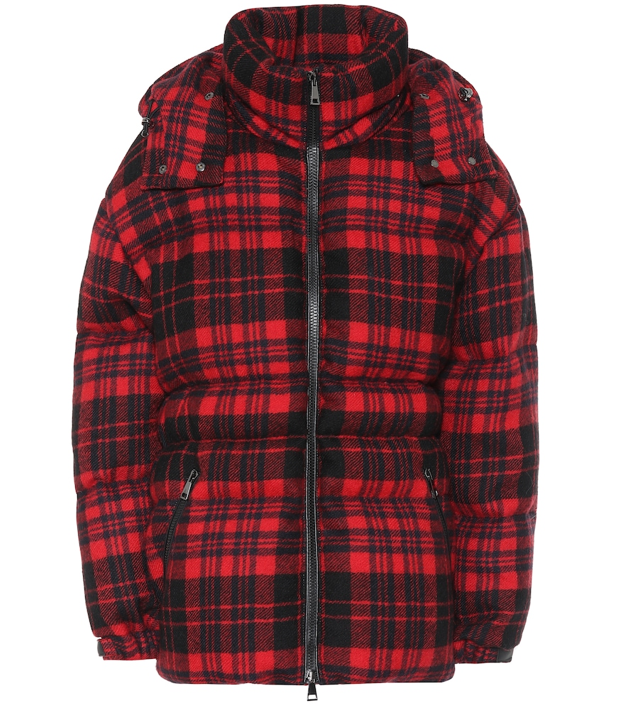 Checked wool down coat