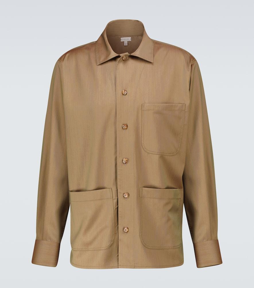 Woven wool overshirt