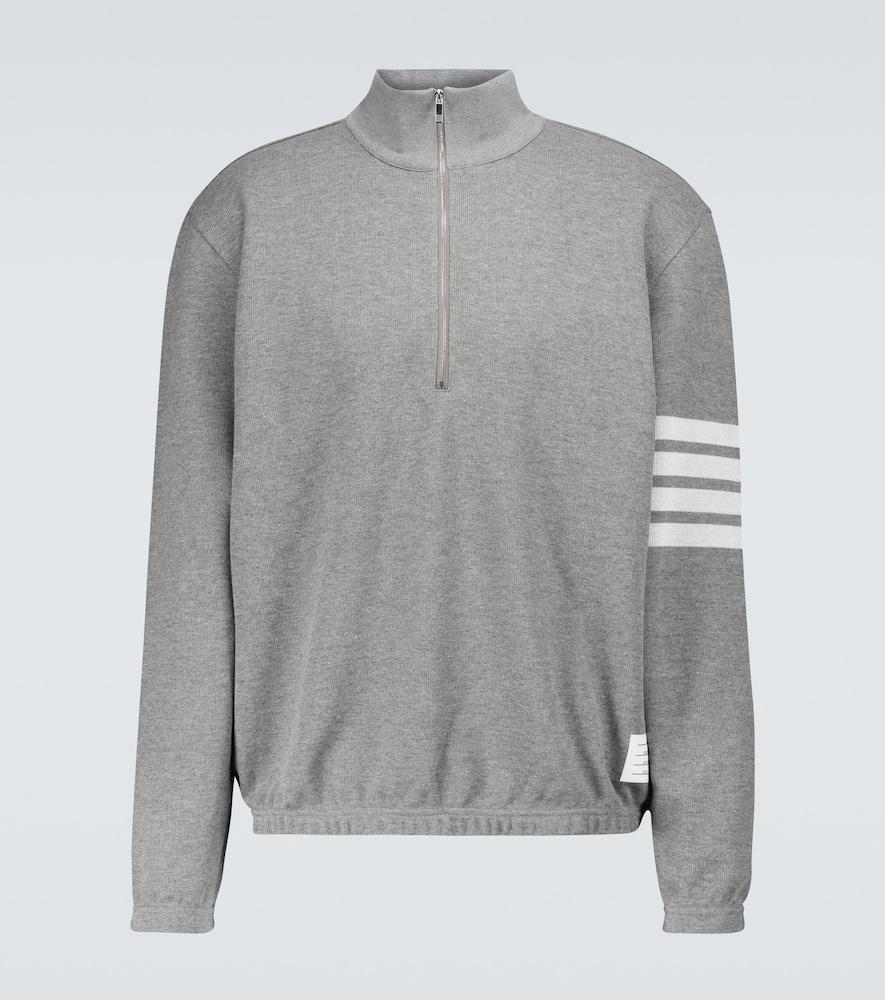 Thom Browne 4-bar Half-zipped Sweatshirt In Grey