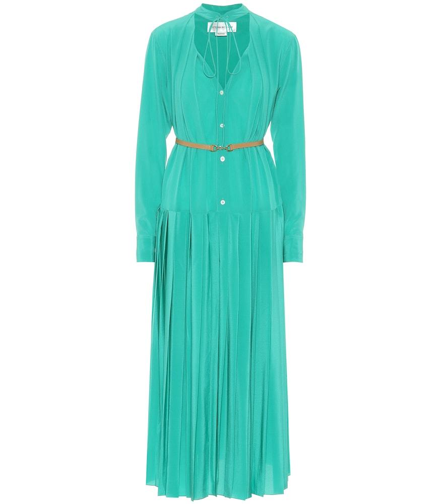 Pleated silk midi dress by Victoria Beckham