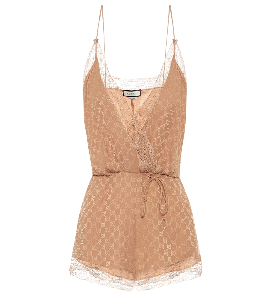 GUCCI LACE-TRIMMED SILK PLAYSUIT