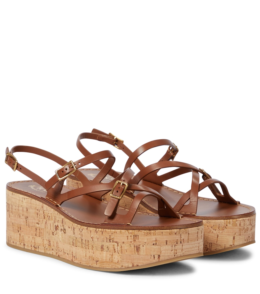 Tod's Leathers LEATHER PLATFORM SANDALS