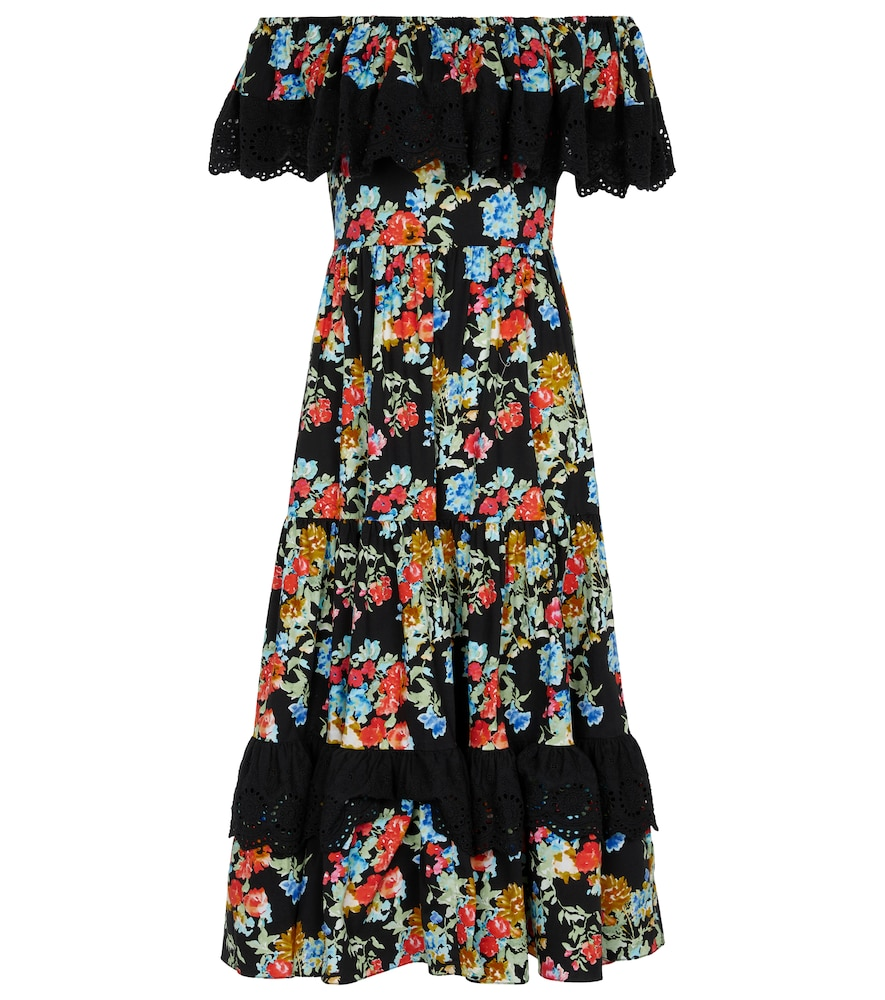 Floral stretch-cotton midi dress